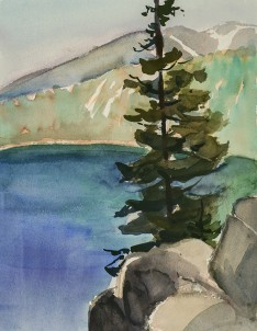 "Carol Parker: ""Solitary Pine"", watercolor"