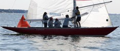 PG Crew: L-R Ashley Hobson, Michael Polkabla, Garth Hobson, George Feurst, and Austin Book rounding a mark in First place at the Shields National Championship Regatta in Larchmont, New York.