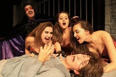 DRACULA: L-R: Matthew Pavellas (Dracula), Melissa Kamnikar, Taylor Safina, Keeley Ostes (Dracula's Brides) Foreground: Matthew Pardue (Renfield)