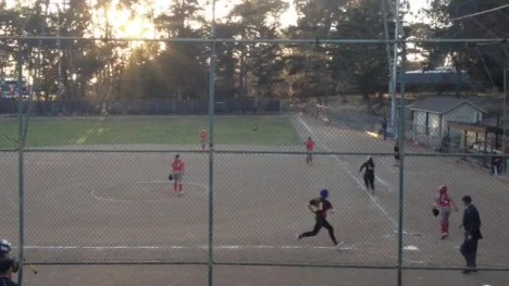Danielle Pasuqariello scores off of the Lala Hautau base hit in the bottom of the third inning against Carmel
