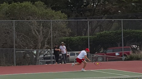 Michele Haugen with a back hand in her victory against Dillan Chiewpanich of Carmel