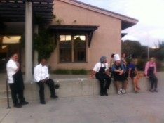 "Culinary Arts students await the ""all clear"" at about 6:50 p.m. on Oct. 8, 2015"