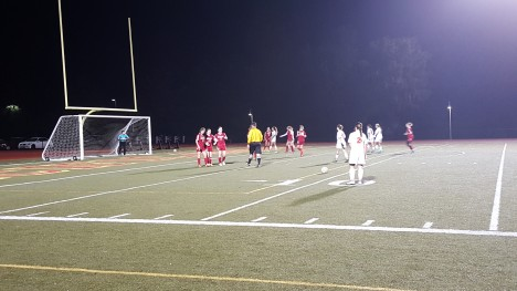 Ashley Aguilera attempts free kick in the 2nd half against Carmel