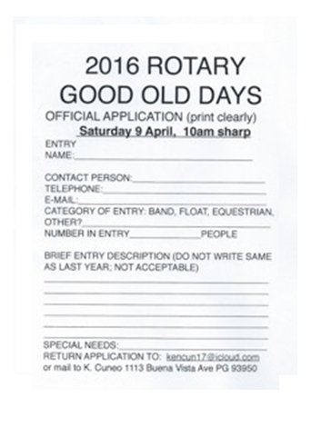 ROTARY GOOD OLD DAYS APPLICATION 2016