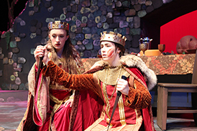 Cayleigh Capaldi as Lady MacBeth, Madigan Webb as MacBeth.