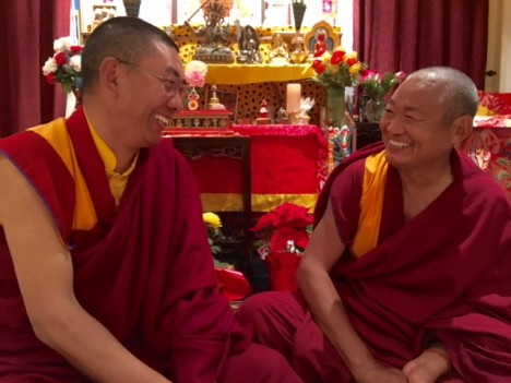 Rinpoche (left) and his guest, Geshe Lobsang Kunshuk