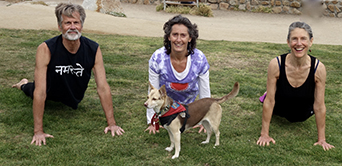 Yoga friends (left to right) Lance Wright, Gina Puccinelli, and Jody Emerson Quintana practicing at Lovers Point Park on June 5, 2016.  Puccinelli's therapy dog, Buddy Om, accompanies them.
